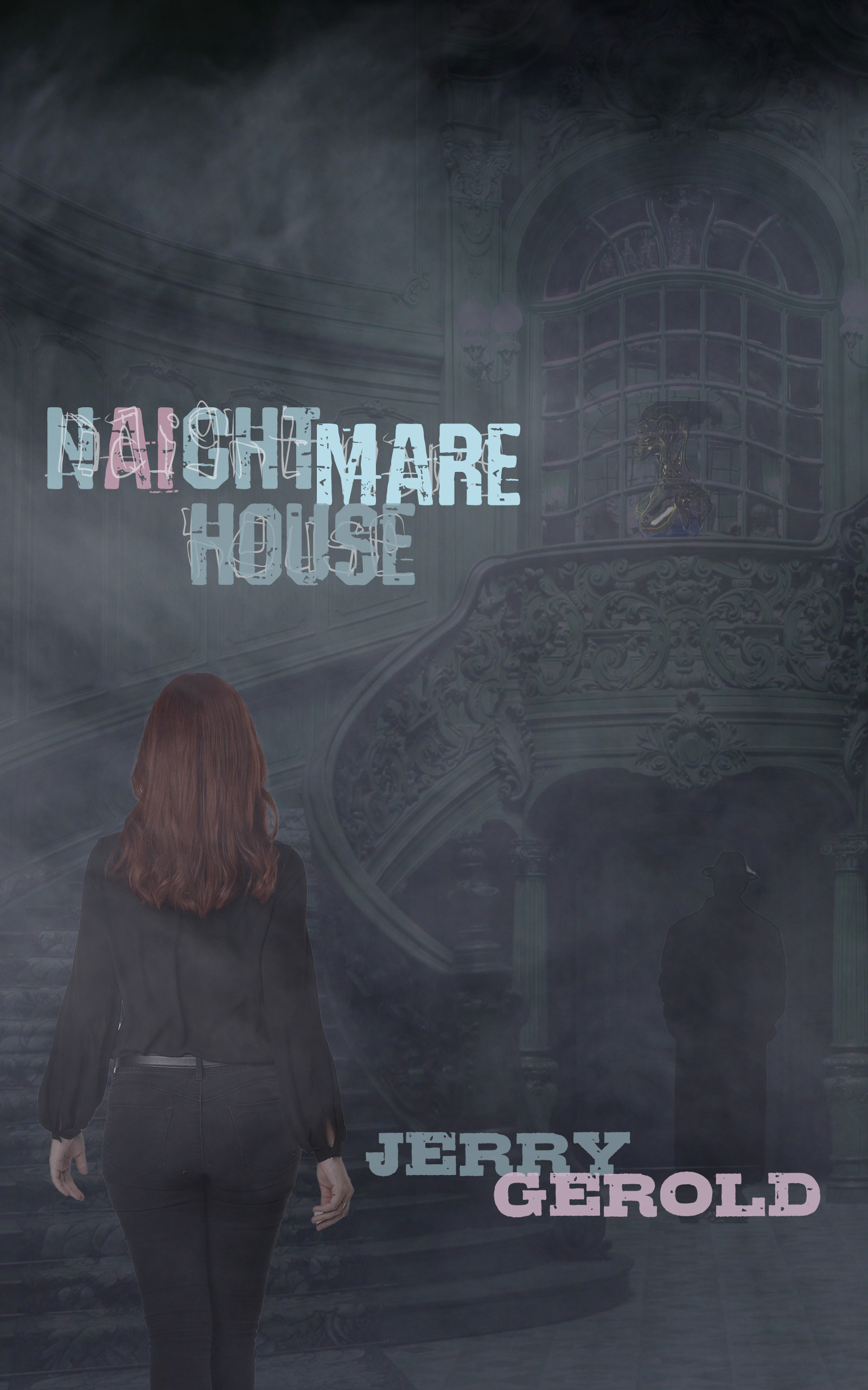Naightmare House Stairs with woman and titles SCRATCH